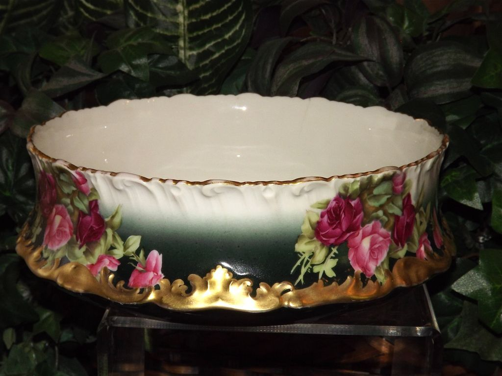 Limoges centerpiece bowl vase jardiniere with red pink