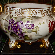Limoges Swan Handled Jardiniere/Vase with Purple Violets and Raised Gold Detailing