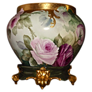 Limoges Large Stunning Red/Pink/White Rose Filled Jardiniere with Heavy Gold Detailing and Green/Gold Plinth
