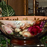 Limoges Gorgeous and Rare Punch Bowl with Roses and Grapes and Gold Stenciled Detailing