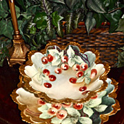 Vibrant Austria Gold Encrusted Bowl and Charger Set with Hand Painted Golden Limoges Red Currants