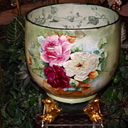 Limoges Large Jardiniere/Planter/Vase  with Huge Red, Yellow, Pink and White Roses