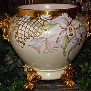 Limoges Large Lion Handled Jardiniere/Planter/Vase  with Huge Purple, White, Pink Bearded Iris and Matching Plinth
