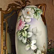 Limoges/Austria Colossal Floor Vase With Fabulous Pink/White/Yellow Roses