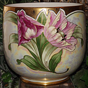 Limoges Rare Barrel Signed Jardiniere with Pink Tulips/Poppies and Gold Trim and Opalescent Finish