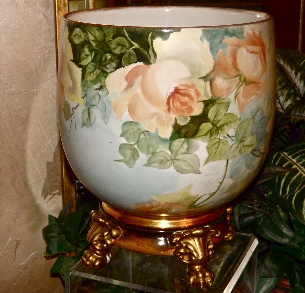 Limoges Large Jardiniere/Planter/Vase with Enormous Hand Painted Yellow and Apricot Roses