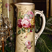 Limoges Huge Tankard/Pitcher Old World Pink, Red and Yellow Roses