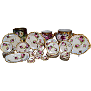 Limoges Spectacular Signed 31-Piece Signed Dessert Set with Pink and Red Roses with Heavy Gold