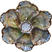 Limoges Oyster Plate with Lovely Sea Scape and Scenic Decor with Gold Embellishments
