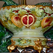Limoges Unique Persimmons Inspired Punch Bowl/Deocrated Plinth Signed Master Artist Luc