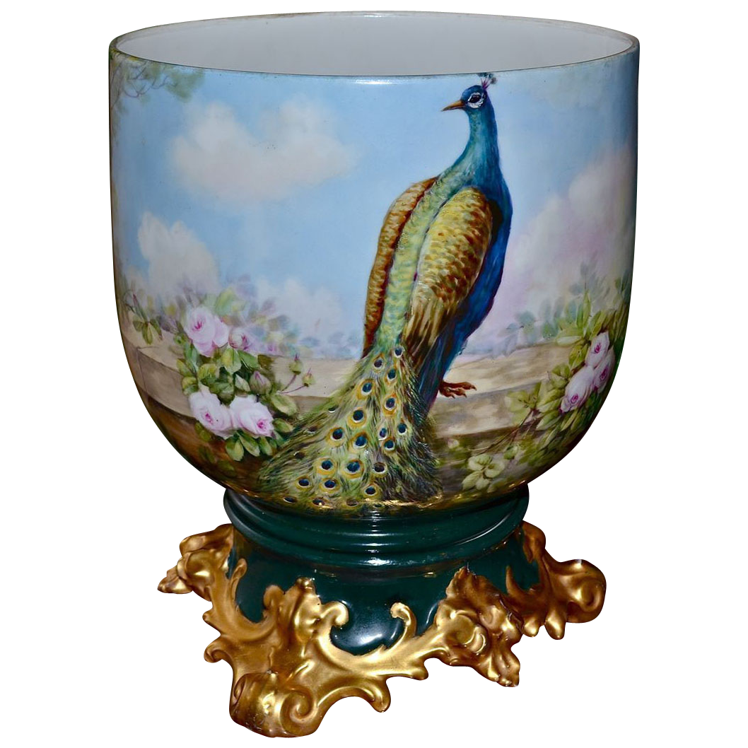 Limoges spectacular jardiniere with scenic floral decor of for Jardiniere decorative