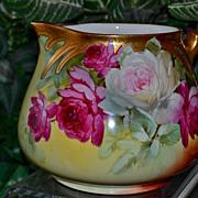 Limoges Breathtaking Rose Filled Pitcher Signed Pickard/Brauer Studio Artist Griffith