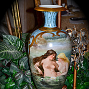 Limoges Huge Spectacular Bolted Signed Urn/Vase with Nudes and Scenic Decor Front and Back