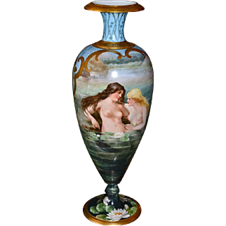 Limoges Huge Spectacular Bolted Signed Urn/Vase with Hand Painted Nudes and Scenic Decor Covering Both Sides