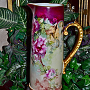 Limoges Huge Rose Filled Tankard/Pitcher with Matching Paw Footed Plinth/Base