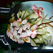 Limoges Cider/Lemonade Pitcher Apricot/White Roses & Bumblebees by E. Miler?
