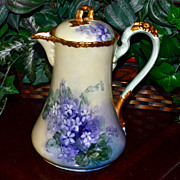 Limoges Violet Filled Chocolate Pot with Gold Floral Decorated Handle
