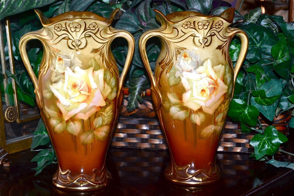 royal bonn pair of handled signed vase covered with yellow. Black Bedroom Furniture Sets. Home Design Ideas
