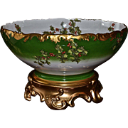 Limoges Large Museum Quality Holly and Berry Punch Bowl and Fabulous Gold Plinth/Base