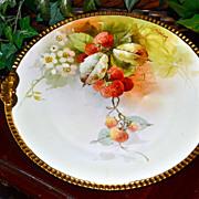 Julius Brauer Studio Hand Painted Strawberry Cake Plate Signed Pickard Artist Challinor