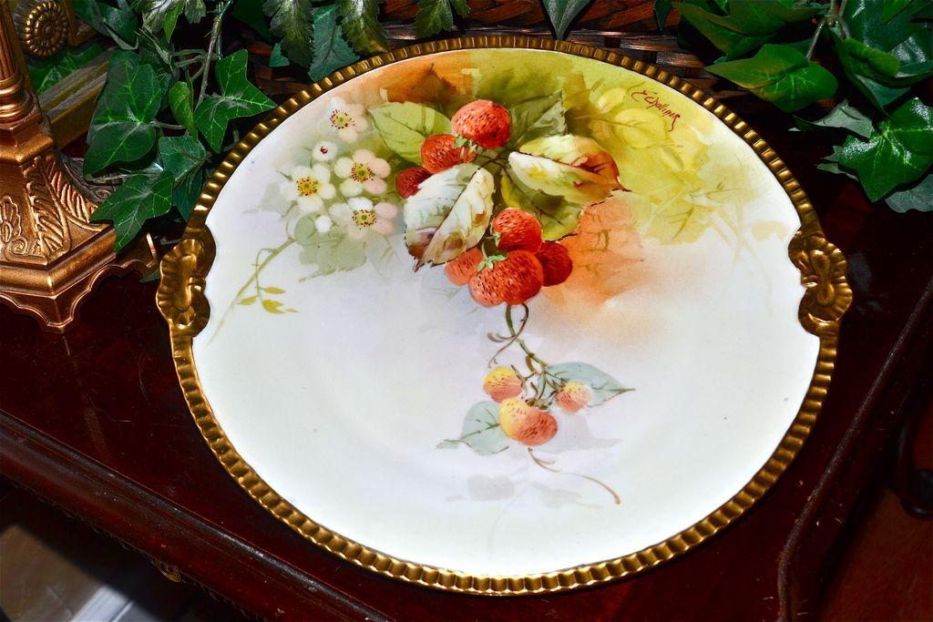 Cake Artist Nj : Julius Brauer Studio Hand Painted Strawberry Cake Plate ...