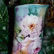 Limoges Pitcher Romantic Pink Roses and Vibrant Colors
