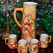 Limoges Magnificent Tankard/Cup Set Covered in Apricot Roses