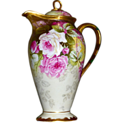 Limoges Pedestal Signed Chocolate Pot with Pink and White Roses