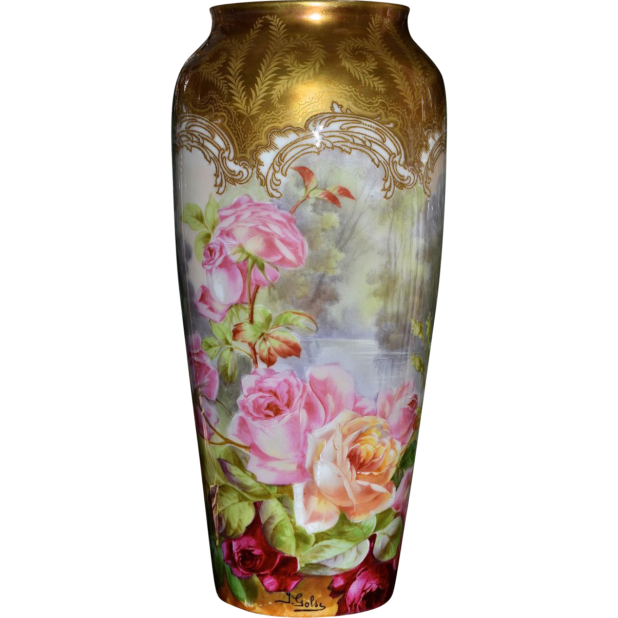Limoges tall incredible rose vase with intricate gold damask like from allthi - Vase tube verre transparent ...
