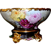 Limoges Spectacular Romantic Rose Filled Punch Bowl and Matching Plinth