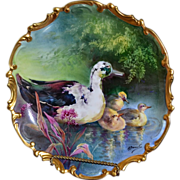 "Limoges Fabulous 13.25"" Charger Duck and Chicks On Reflecting Waters by Master Artist Bronssillon"