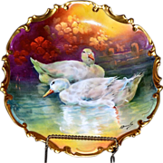"Limoges Fabulous 13.25"" Charger Swans On Reflecting Waters by Master Artist Bronssillon"
