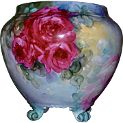 Limoges Gorgeous Scrolled Footed Jardiniere with Exquisitely Executed Pink and Red Roses