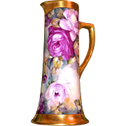 Limoges Stunning Huge Pink and Red Rose Tankard with Heavy Gold Embellishment
