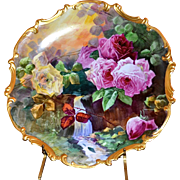 Limoges Large Reflecting Waters Rose Charger Signed Well Known Artist Duval