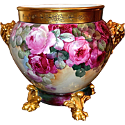 Limoges Magnificent Museum Quality Rose Filled Jardiniere with Gold Elephant Handles and Perfect Matching Gold Pawed Plinth