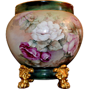 Limoges Gigantic Rose Filled Jardiniere with Unique Painted Inner Rim and Gold Paw Footed Matching Plinth and