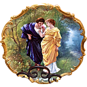 """Limoges Huge 15.5"""" Charger Wall Plaque Signed Dubois Two Lovers in the Woods"""
