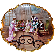 Limoges Hughes Wall Plaque/Charger Signed Master Listed Artist Dubois: Portrait Parlor Scene