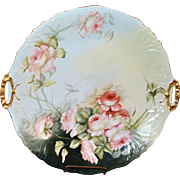 Limoges Large Platter or Open Handled Cake Plate Adorned with Romantic Apricot Roses Signed Listed Artist E. Miler