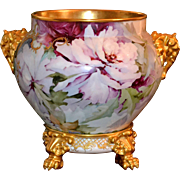 Limoges Gold Elephant Handled Jardiniere With Enormous Pink Roses, Heavy Gold Paste Work, and Wonderful & Matching Plinth