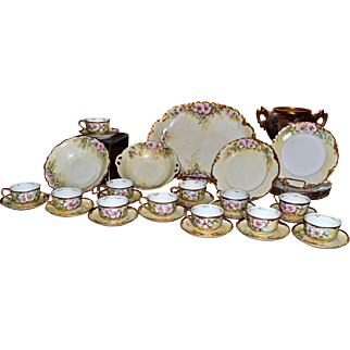 33-Piece Hand Painted Signed Dinner/Dessert Set with Hand Painted Pink Roses