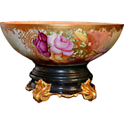 Limoges Signed Punch Bowl Encrusted with Gold and Decorated with Hand Painted Roses