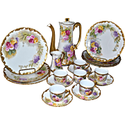Limoges Fabulous Roses and Lilac Dessert Set: Chocolate/Tea Pot, Creamer, Cups and Saucers and Dessert Plates