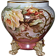 Limoges Gorgeous Jardiniere with Yellow and Apricot Tea Roses and Heavy Gold Embellishments Together with Paw Footed Matching Plinth