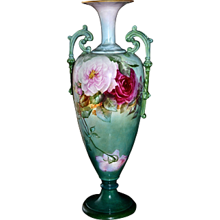 Belleek CAC Exquisite Tall Two Handle Vase with Red,Pink and Yellow Roses