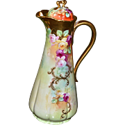Pickard Jelinek Decorated Amazing Rose Inspired Chocolate Pot with Signature Floral Roses and Gold
