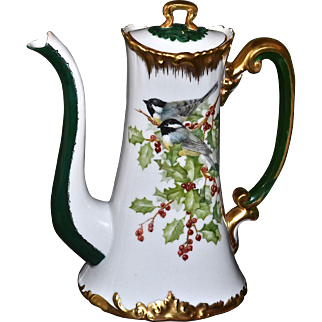 Limoges Wonderful Signed Holly Berry Chocolate Pot Decorated with the Addition of a Duo of Yellow Breasted Chats/Warblers