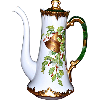 Limoges Signed Holly Berry Chocolate Pot with Gold Xmas Bell Embellishment