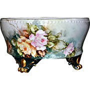 Limoges Small Footed Table Top Jardiniere/Planter with Lovely Roses and Gold Spider Webs